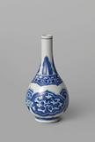 Pear-shaped bottle vase with floral scrolls and petals