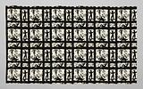Coupon black printed silk with silhouettes of people and plants