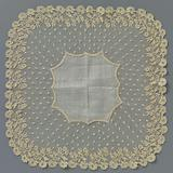 Needle lace handkerchief with hanging flower branches