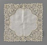 Handkerchief with bobbin lace trim with trifold