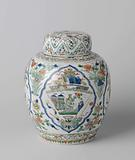 Ovoid covered jar with flowering plants and antiquities