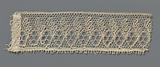Strip bobbin lace with standing ovals and one-sided feathered leaves