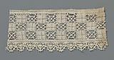 Strip bobbin lace with three rows of squares and scalloped edge