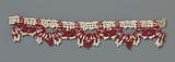 Strip coarse bobbin lace with white and red threads