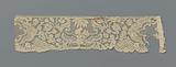 Strip bobbin lace with palm tree-like application