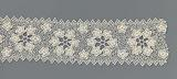 Sliver crocheted lace with rosette wreath