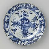Plate with flower sprays and figures in an interior and in a landscape
