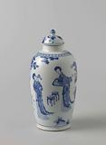 Ovoid covered jar with Chinese ladies in a garden