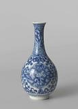 Pear-shaped bottle vase with floral scrolls