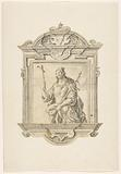 Baroque frame depicting a martyr in knee-length, with a cross and ax in hand
