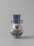 Pear-shaped vase with ornamental borders, flowering plants, brushwood fences and birds
