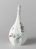 Octagonal pear-shaped bottle vase with flowering plants and floral scrolls