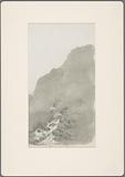Mountain stream seen against the uniform gray of a mountain ridge