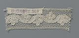 Strip bobbin lace with a wavy line and three-lobed leaves