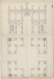 Design for a square portico, cross-sectioned, on the balustrade and in niche statues