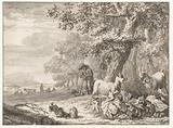 Landscape with a Herder Watching a Flock of Three Goats