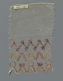 Strip bobbin lace with three painted zigzag lines