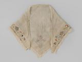 Fichu of silk, square, embroidered on two sides with a border of flowers and fruits in silver thread and multicoloured …