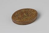 Box, oval, of braided straw with Amor between leaf tendrils and inside lid Venus and Amor