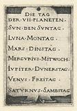 Title page with list of seven days and the associated planets