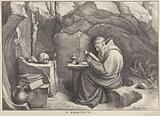 Saint Francis reading in a cave