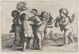 Five boys carry a young man crowned with vines