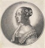 Woman with lace collar and bow in her hair