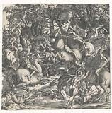 Naked men fighting with spears on horses