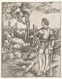 God speaks to Cain who is standing with Abel's dead body