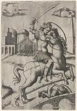 Roman soldier Horace Cocles on horseback on Tiber bridge in Rome