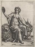 Caution (Prudentia) with mirror sitting on lion curb a dragon