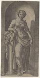 Woman as a personification of Power (Fortitudo) leaning on a column in a niche