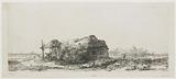 Landscape with cottages and a hay barn: oblong