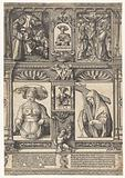 Sheet with two Sibylls and two scenes from the passion story