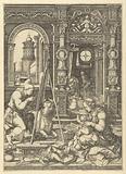 Saint Luke paints Madonna with child