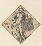Nude woman with coat of arms