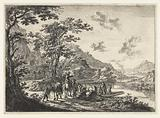 Landscape with ferry and waiting travelers on the banks of the Tiber