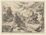 Rocky coast in Campania with city and travelers