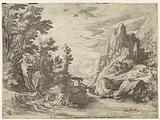 River landscape in Campania with city on rocks