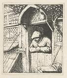 Farmer leaning on bottom door