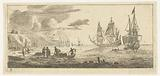 Seaport with two large sailing ships