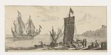 Bay with a corner and a warship