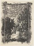 Title print with landscape and figures from fables and stories in a frame with plants and snakes