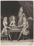 Teacher and three boys at a drawing board