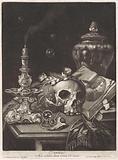Vanitas still life with a flower-crowned skull