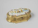 Gilded silver toilet box, oval, with vertical and concave sections on the corners and convex ends and a flat front and …