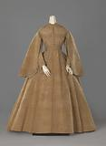 Cognac moiré silk dress, consisting of a skirt and body fastened together, decorated with narrow lace and small …