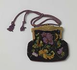 Flat bag, all of dark purple, lilac, yellow and green beads in a floral pattern, on a rectangular copper-coloured …