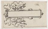 Oblong cartouche with two putti
