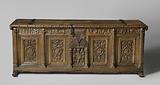 Chest whose front plate is decorated with grotesques grouped around medallions with heads, within laurel wreaths